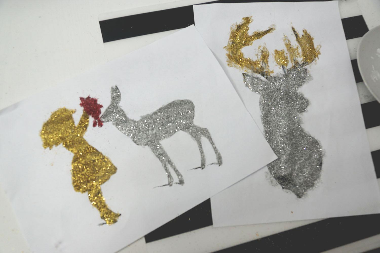 ozdoby świąteczne diy, do it yourself, swiateczne ozdoby, diy, brokatowe obrazki
