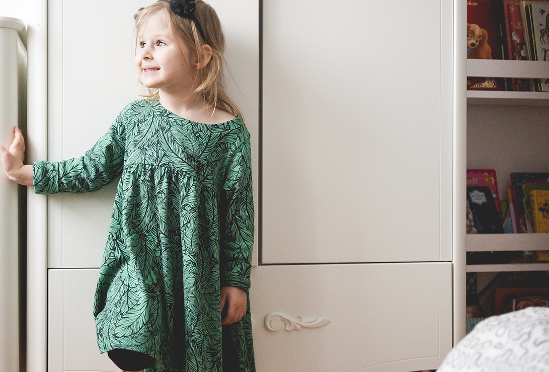Birdie Dress Green Father, sukienka dla dziewczynki, moda dziecięca, moda dla dzieci