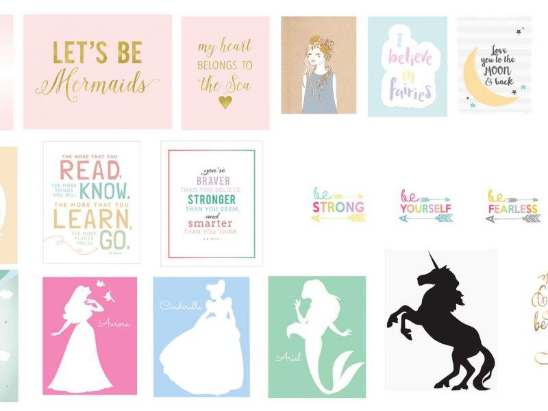 Darmowe obrazki do wydrukowania do pokoju dziecka - księżniczki, syrenki, jednorożce