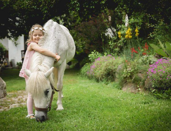 Dziecko, koń, pasie się, ogród, trawa