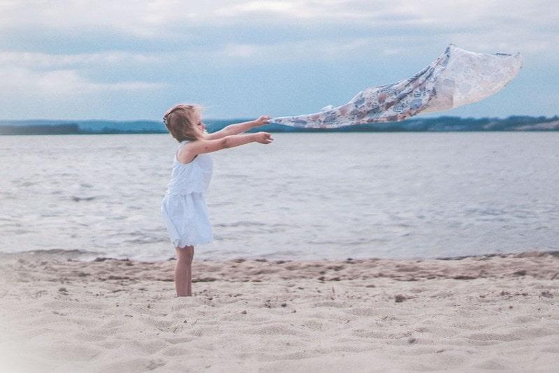 Dziecko, ręcznik, plaża