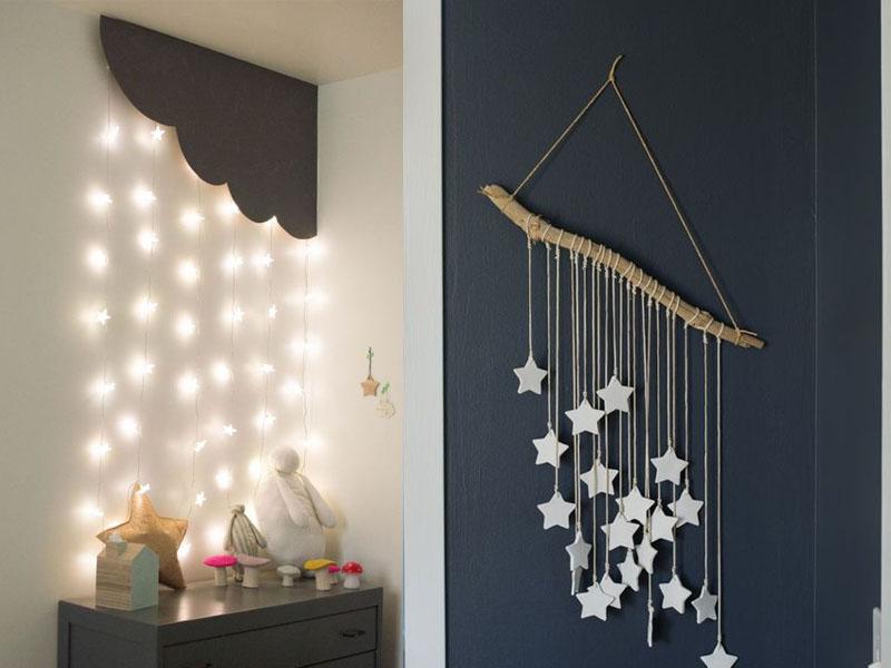gwiazdki DIY, dekoracje do pokoju dziecięcego, pokój dziecięcy DIY zrób to sam