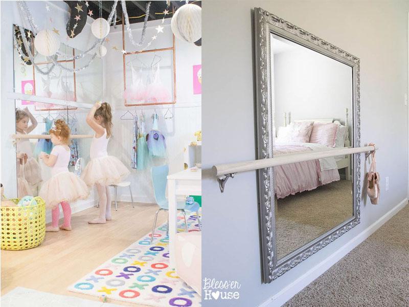 lustro do baletu DIY, dekoracje do pokoju dziecięcego, pokój dziecięcy DIY zrób to sam