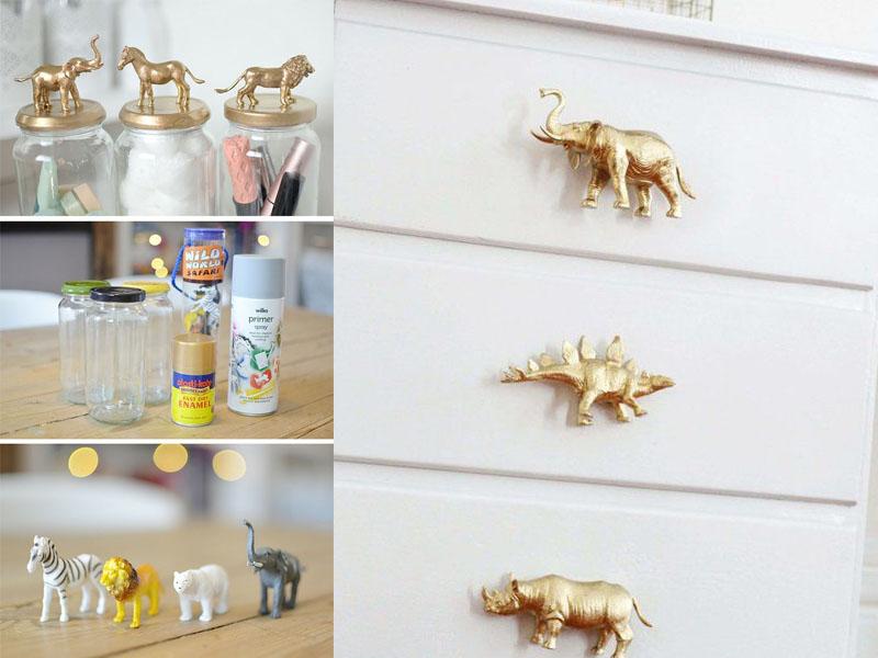 złote uchwyty, dekoracje do pokoju dziecięcego, pokój dziecięcy DIY zrób to sam