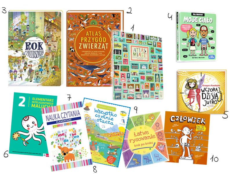 książki dla dzieci, książki dla przedszkolaka, moje ciało, rok w przedszkolu, atlas miast, atlas przygód zwierząt