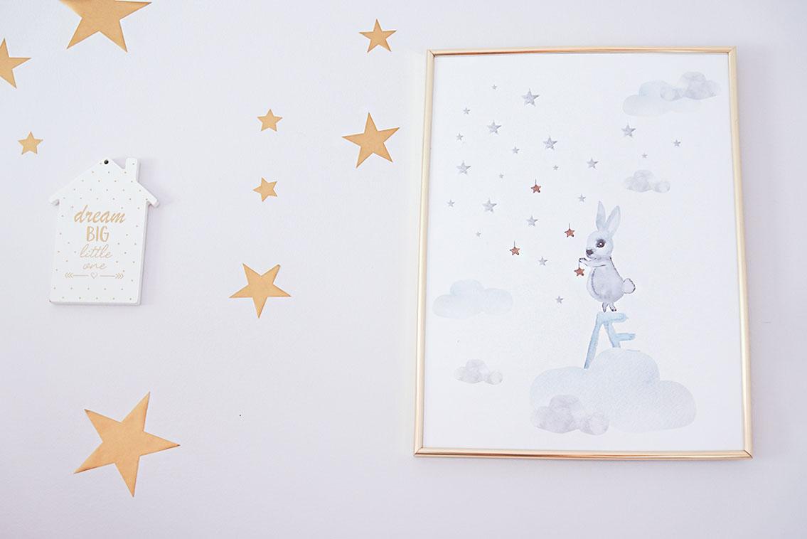 pokój dziecka, obrazek mohome, naklejki gwiazdki