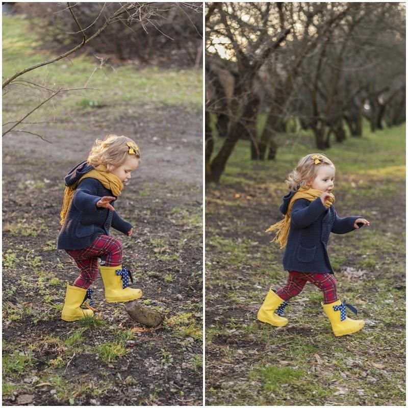 żółte kalosze next z kokardkami, moda dziecięca, blog