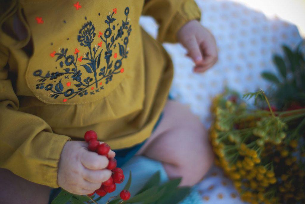 Jarzębina, dziecko, wzór, kolor musztardowy