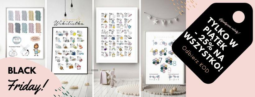plakaty alfabet dla dziewczynki, plakaty alfabet dla chłopca, plakat z alfabetem